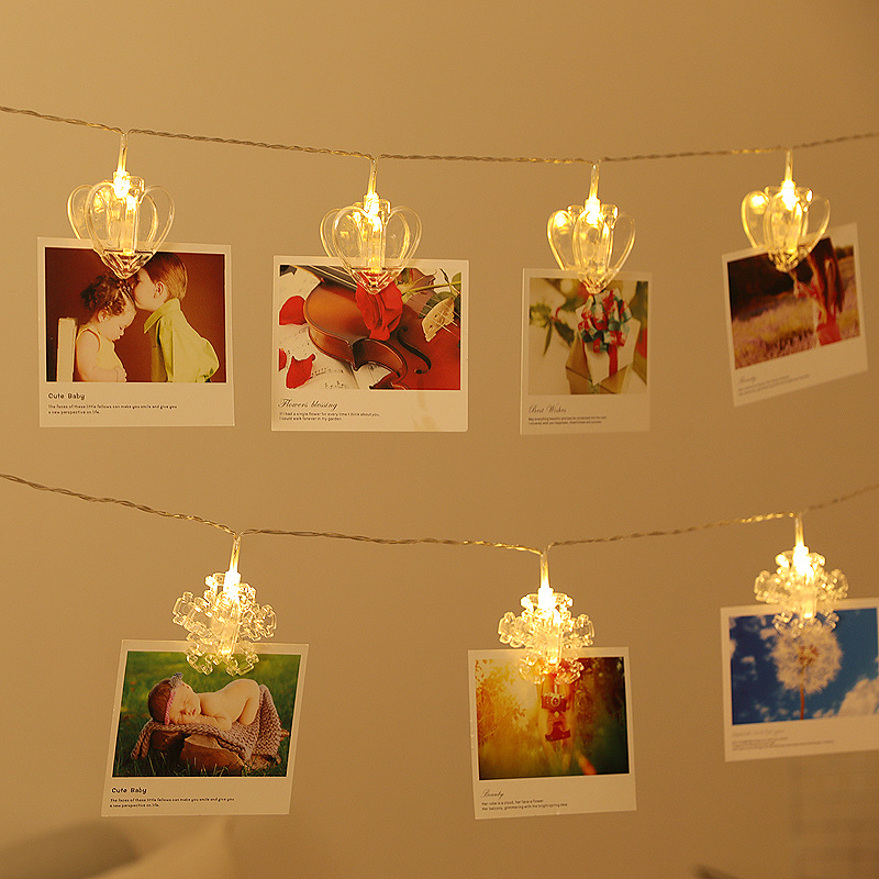 LED Photo Clip On Battery String Lights For Holiday Romantic Atmosphere Decoration Fairy Light Thematic Wall Decorative Garlands