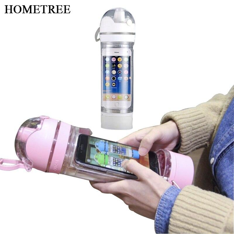 HOMETREE 480 ml/1 PC New Creative Mobile Téléphone bouteille Multifonction Scellé Portable De Mode En Plastique Sport Bouteilles D'eau BPA H298