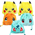 20*22cm 5Styles  Kawaii Pikachu Bag Bulbasaure Plush Storage Bag Squirte Adjustable Shoulder Bag Anime Cartoon Gift for Kids
