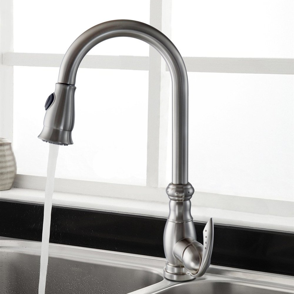 Fast delivery Brushed Nickel Single Handle Single Hole Kitchen Faucet Sink Water Mixer Tap with Pull