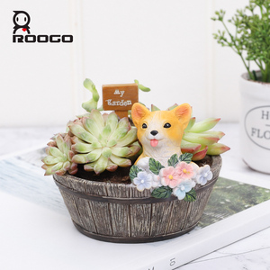 Image 2 - Roogo American Style Flower Pots Resin Flowerpot For Home Garden Decoration Wood Bonsai Pot Succulents Plants Orchids Cactus