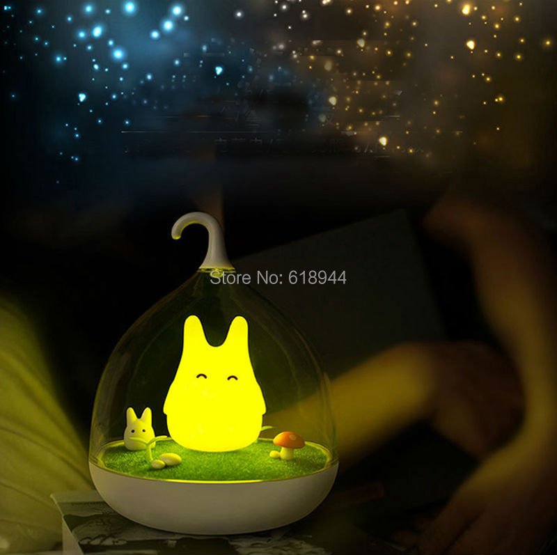Totoro Touch Dimmer Control LED  Night Lamp USB Rechargeable LED Night Light Lamp Baby Room Vibration Sensor Dimmer free shipping newest design night lamp totoro cute portable touch sensor usb led lights for baby bedroom sleep lighting light