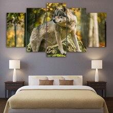 5 Peças Lobo de Madeira Da Floresta Paisagem Pictures Animal Posters Arte Da Parede Da Lona Pinturas de Quadros Para Sala de estar Decoração de Casa