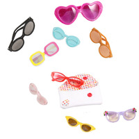 9 Colors Available Pcs Lot Doll Glasses With 1 White Glasses Bag Doll Accessories Sunglasses Fit