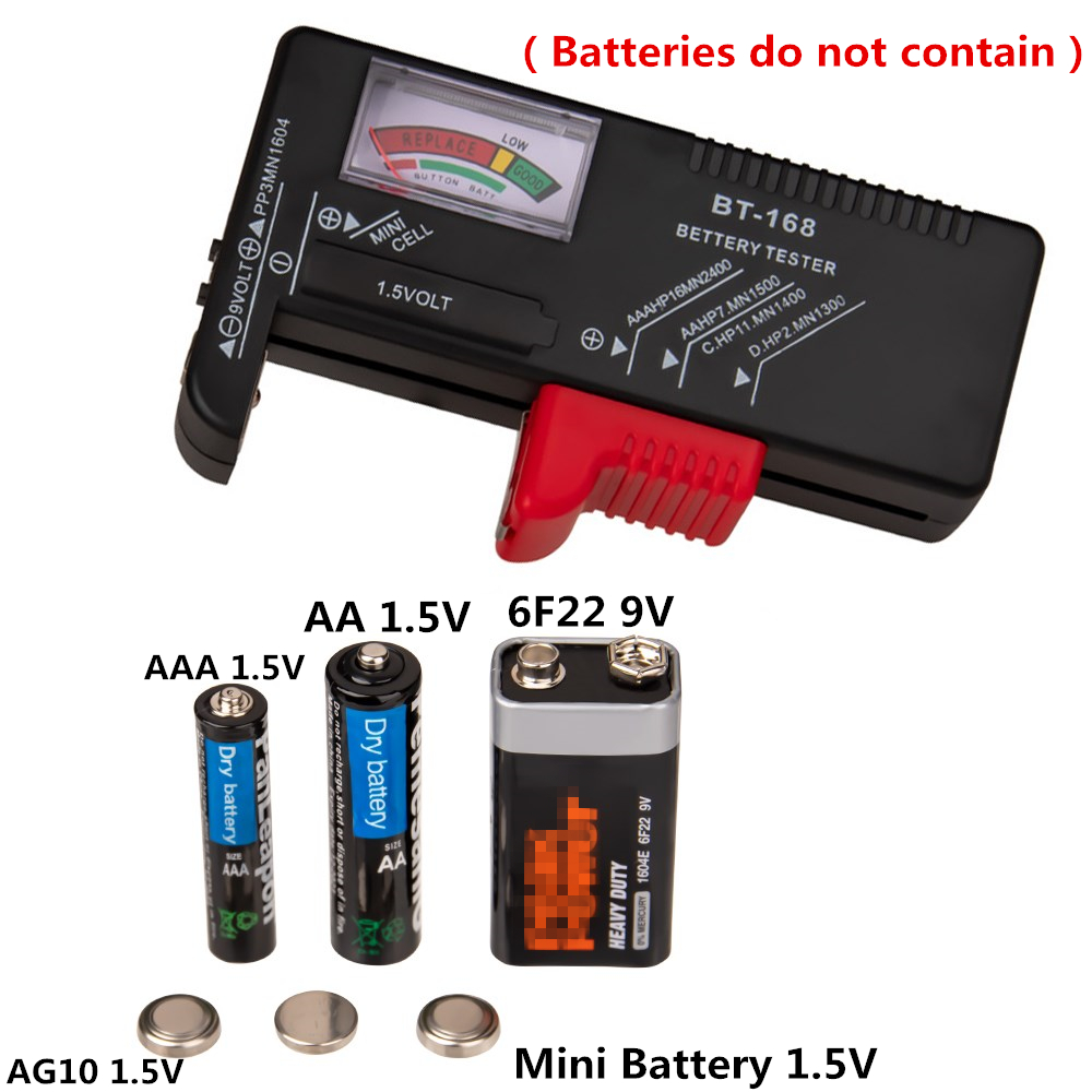 <font><b>BT</b></font>-<font><b>168</b></font> Digital Battery Test AA/AAA/C/D/9V/1.5V batteries Universal Button Cell Battery Colour Coded Meter Indicate Volt Tester image
