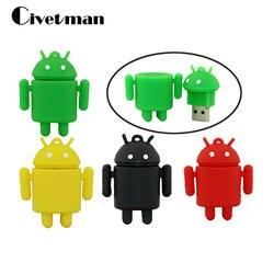 Флеш-накопитель мультфильм милый Android Робот Внешний накопитель 8 ГБ 16 ГБ 32 ГБ 64 ГБ 128 ГБ USB флешка Memory Stick Pendrive подарки