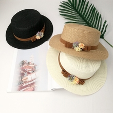 New flower ribbon flat roof straw hat Young woman summer beach shade resort small hat