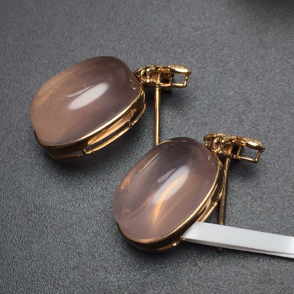 Fine Jewelry Real 18k Rose Gold AU750 100% Nature Rose Quartz Gemstone Female Earrings Fine Gift women earring yoursfs dangle earrings with long chain austria crystal jewelry gift 18k rose gold plated