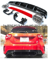 ABS Car Rear Bumper Diffuser with Exhaust Tips Fit For BENZ W176 A Class A45 2013 2014 2015 2016 2017 2018 BY EMS