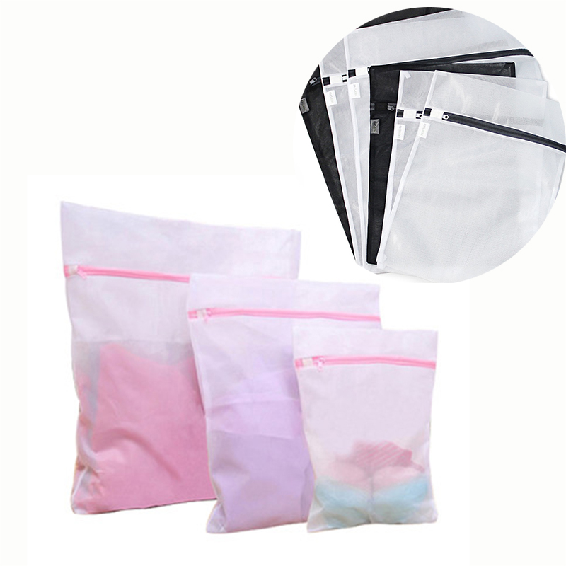 3pcs/set Mesh Net Laundry Bags Household Cleaning Tool Useful Mesh Wash Bag Zipper Laundry Hamper Wasmand Of Dirty Cloth
