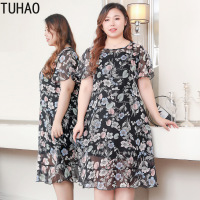 TUHAO 2019 Office Lady Chiffon Dress Plus Size 10XL 9XL 8XL 7XL Woman Elegant Vintage Beach Dress Large Size Party Dresses