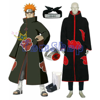 Anime Naruto Akatsuki Pein Deluxe Edition Cosplay Costume 6 in 1 Wholesale Combo Set (Cloak+T Shirt+Pants+Headband+Boots+Ring)