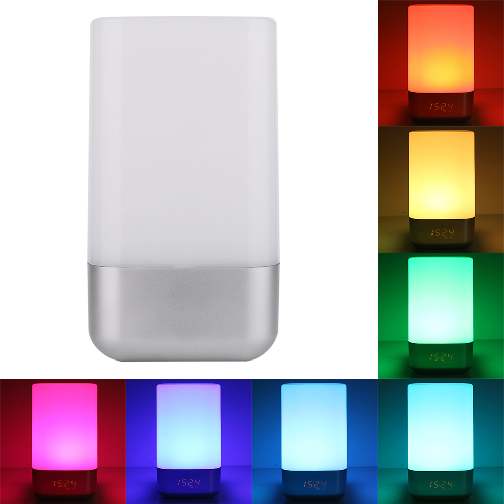 LED night light bedside lamp Night light Smart colorful LED wake up desk lamp creative home gift mini night light reading lamp mabor wake up light display bedside mood snooze desk lamp alarm clock night bulb