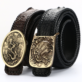 [BATOORAP] New High Quality Men Belt Pure copper buckle Crocodile leather Belts Luxury Brand Designer Belts Black Vintage Strap