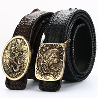 [BATOORAP] New Real High Quality Men Belt Pure copper buckle Crocodile leather Belts Luxury Brand Designer Belts Black