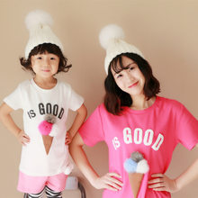 89eb29384 Family Matching Outfits Mother and Daughter T-shirt Summer Long Ice Cream  Rabbit Ball mommy and me clothes Mom and kids Clothing