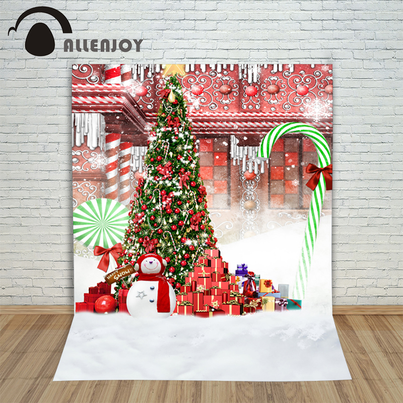Backgrounds for photo studio christmas Tree with snowman gift bow kids Fairy tale wonderland 10x10ft happy photography backdrop  christmas snowman toy kids gift star shape candy jar