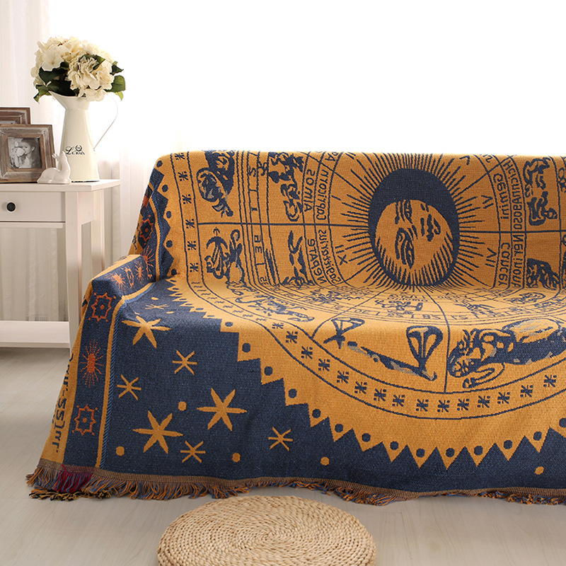 Retro Constellatio Jacquard Blankets Slipcover For Sofa Beds Wall 100%  Cotton Thicken Couch Throw Blanket Tablecloths Sofa Cover