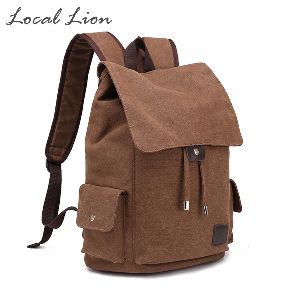 ФОТО LOCAL LION Women's Canvas Backpacks Solid Vintage Men Daily Backpack Shoulder Bags Travel Backpack School Laptop Bag HQB1784