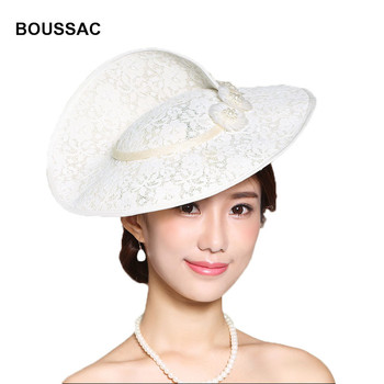 New Design Special Shape Brim Big Hat For Women Royal Derby Fascinator Church Lace Hats Ladies Wedding Party Headwaer KNHFH13