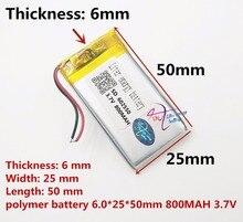 Najlepsza bateria marki 3.7 V litowo polimerowa bateria 602550 800 MAH GPS navigator bezprzewodowy zestaw słuchawkowy głośnik punkt czytanie maszyna