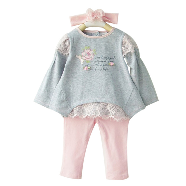 Spring Newborn Baby Girl Clothing Set 3 PCS Cotton Sets Headband+T-shirt+Leggings Bebe Casual Floral Lace Infant Clothes
