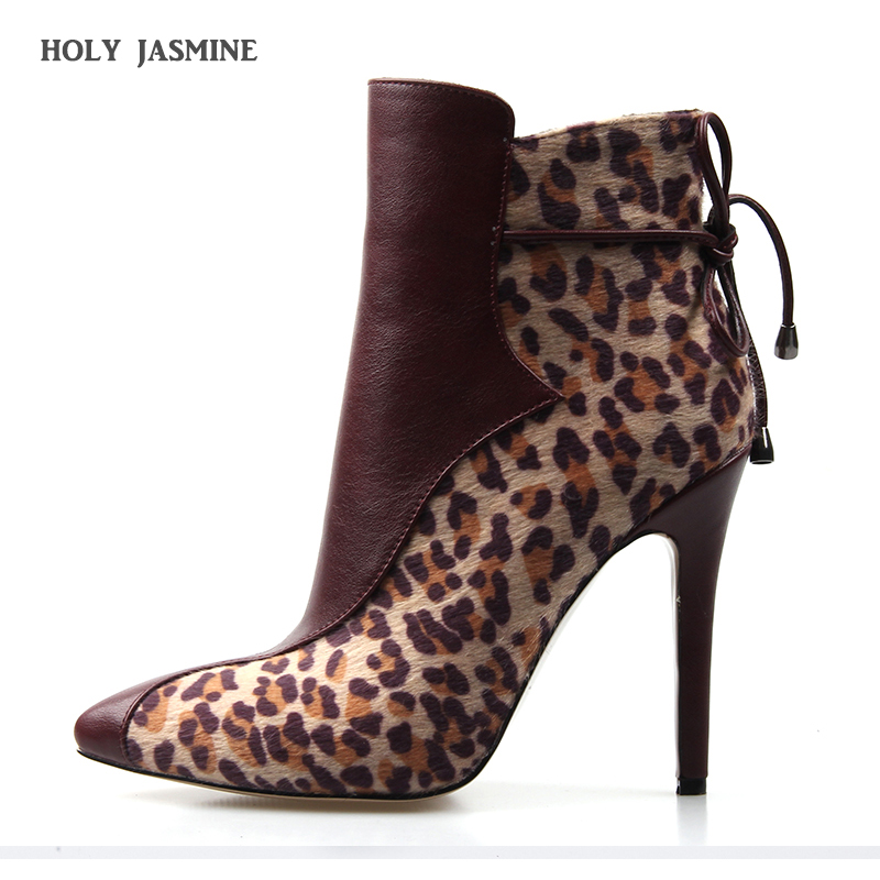2019 New Women Thin Heel Ankle Boots Leopard Pointed Toe Flock Fashion Ankle Boots Short Plush 11cm Heels Shoes Short Warm Boots цены онлайн