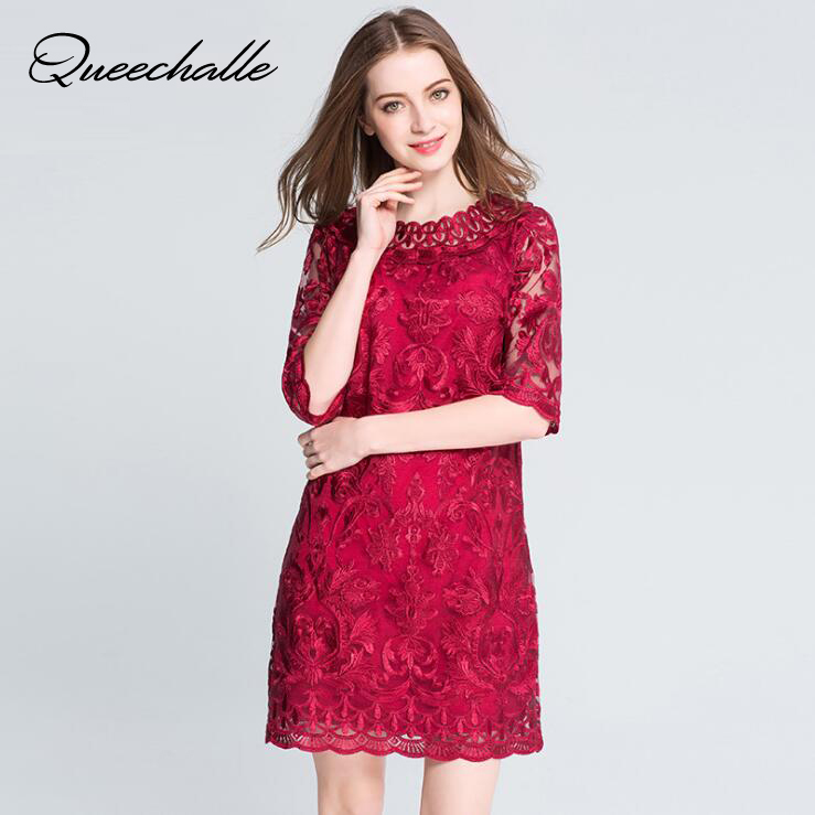 Wine Color Elegant A line Dress Female 2019 Spring O Neck Lace Embroidery Half sleeve Women Dress 3XL 4XL 5XL Plus Size Vestidos