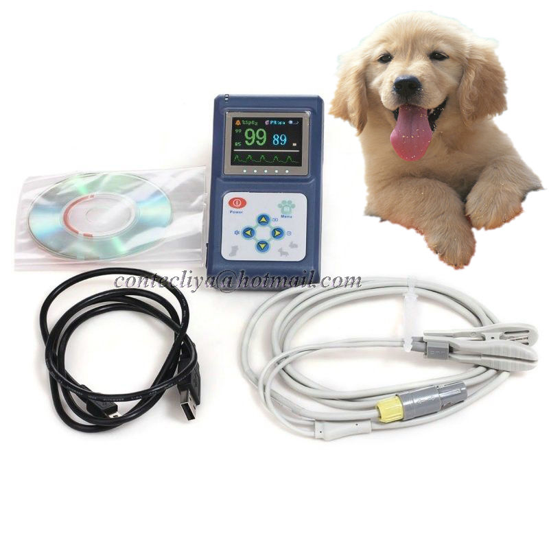 US STOCK CMS60D-VET Animal Using Pulse Oximeter Vet Probe OLED SPO2 PR Monitor USB SW Ne ...