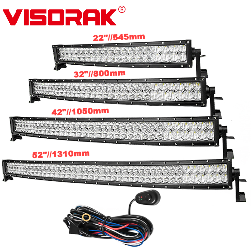 """VISORAK 5D 22 32 42 52"""" Curved LED Light Bar for OffRoad Car Off Road 4WD 4x4 SUV ATV Truck LED Driving LED Work Light Bar"""