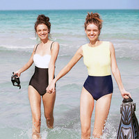 Fashion Women Strapless High Neck Patchwork Sexy Swimsuit One Piece Swimwear Monokini Butt Crunch High Waisted