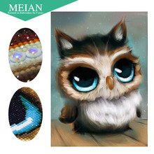 Meian особый бриллиант в форме Вышивка животных Сова полный DIY Вышивка с кристаллами 3D Алмазная мозаика из бисера фото Декор