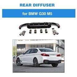 M5 dyfuzor dla BMW G30 G38 M Sport 540i Sedan 4 drzwi 2018 2019 z 4-outlet końcówki rury wydechowej czarny błyszczący PP dyfuzor przedni spojler