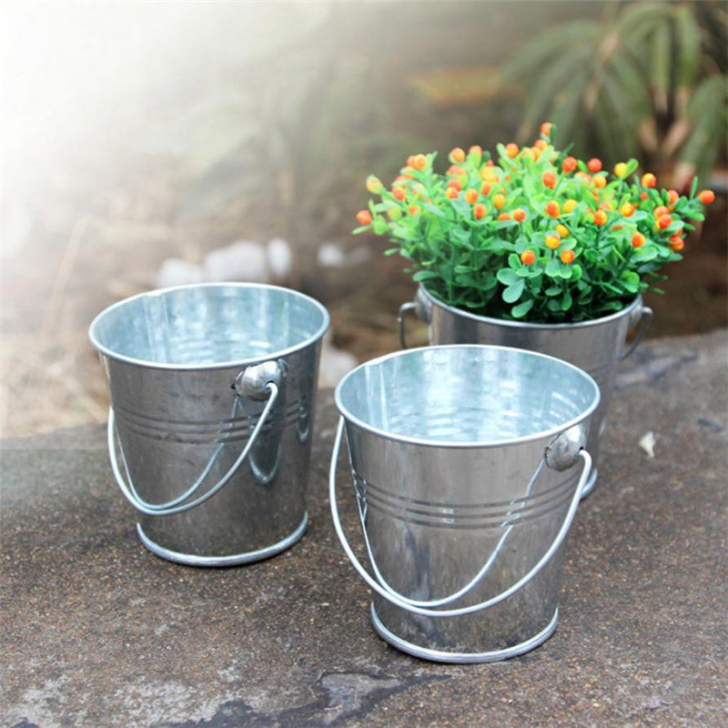 1PC Mini Hanging Flower Pot Tub Modern Decor Wedding Party Plant Keg Small 9.8CM DIY Flowers Planter Bonsai Supply Metal Basket