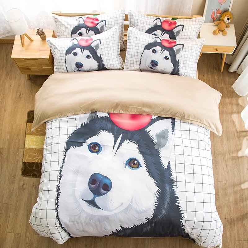 Blanc ciel Husky chiot chien ensemble de literie double reine roi aquarelle housse de couette avec taies d'oreiller ensemble de lit pour enfants Animal literie