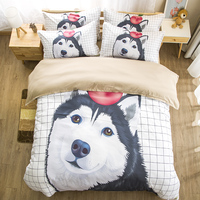 White Sky Husky Puppy Dog Bedding Set Twin Queen King Watercolor Duvet Cover With Pillowcases Bed Set for Kids Animal Bedclothes