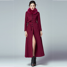 2017 New Fashion women autumn winter coat long wool jacket plus size fur collar wool coat single breasted woolen trench outwear