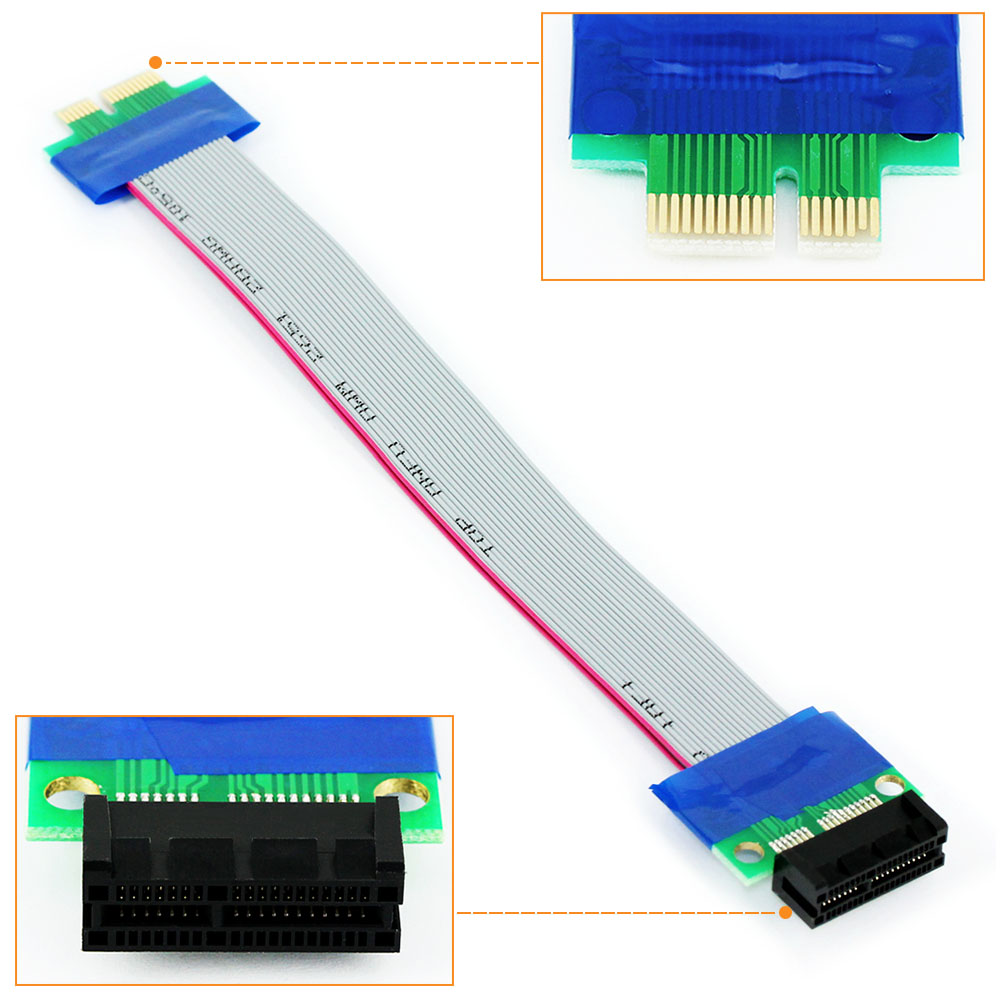 PCI Express PCI-E 1X Male to PCIe Female Extension Cable for Motherboard Riser Card Extender Extension Ribbon Adapter pci express pci e 16x male to female extender ribbon cable for 1u 2u grey page 4