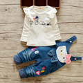 BibiCola Autumn&spring Fashion baby girl clothes cotton long-sleeved Cartoon cat T-shirt+pants newborn baby girls clothing set
