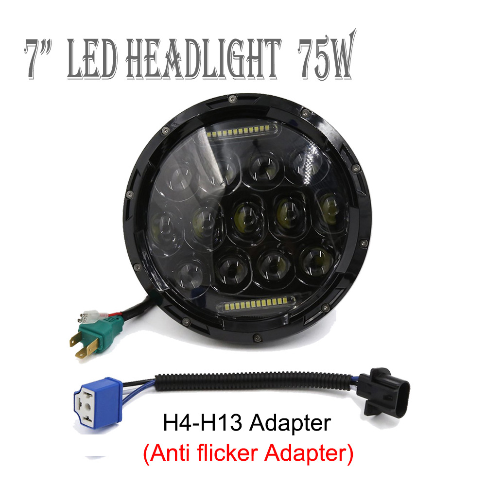 75W 7 Led Headlight H4 To H13 High Low Beam Round Cars Running Lights for Jeep Wrangler Hummer 4x4 Yamaha Harley Motorcycle