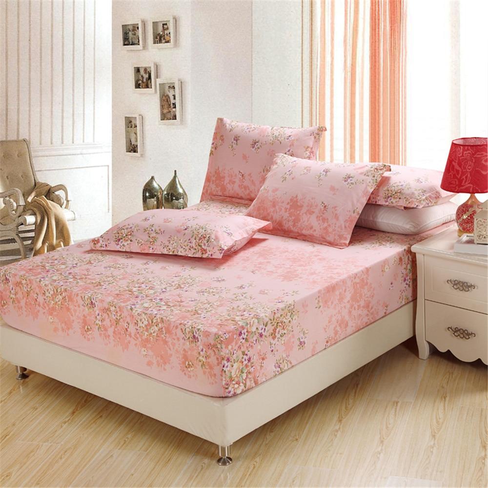 luxury pink Small broken flower Elastic Mattress cotton Printed Bed Linen twin full Queen king Fitted Sheet Sets soft Pillowcase