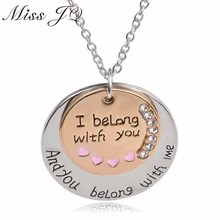 "2018 New Design Word ""I Belong With You""Coin Double Round Pendant Necklace For Boyfriend Girlfriend Lovers' Gifts Men Jewelry"