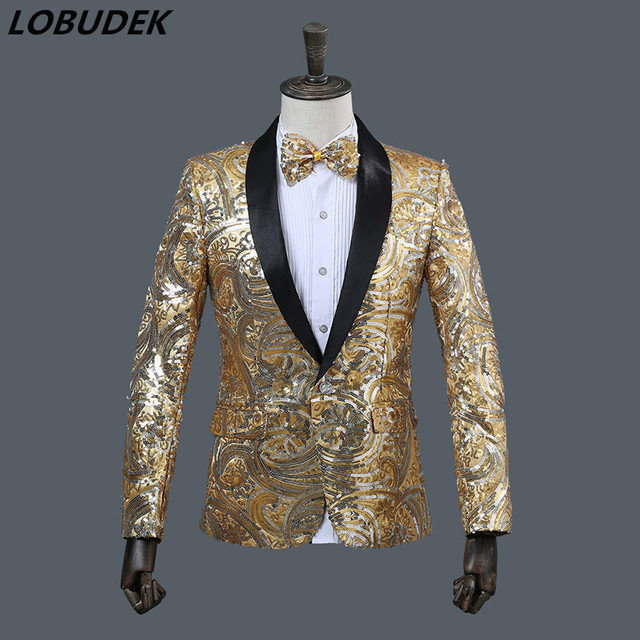 Bar Nightclub Male singer Costume dress Sparkly Sequins Suit Jackets Evening party Men's Host performance stage show dresses