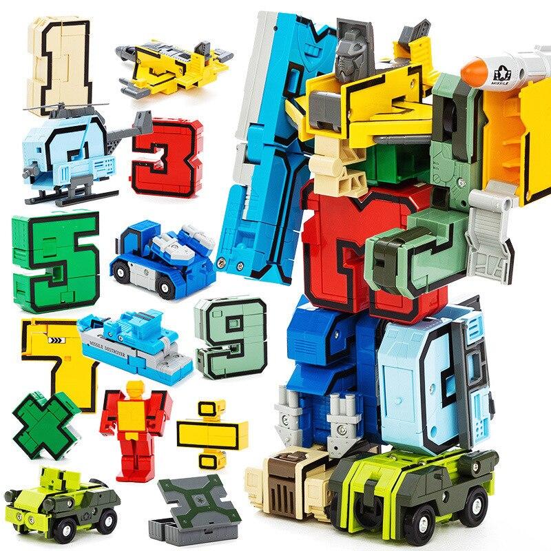 15Pcs Creative DIY Assembling Educational Blocks Sets Action Figure Transformation Number Robot Deformation Robot Toy For Kids