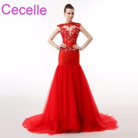 Red Lace Tiul Długie Prom Dresses 2018 Mermaid Zroszony Illusion Top Nastolatki Formalna Prom Party Suknie Custom Made Wysokiej Jakości
