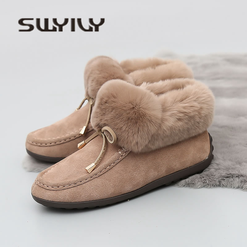 SW Genue Leather Woman Winter Warm Snow Boots Rabbit Fur 2018 Winter New Bow Casual Famale Shoes Comfortable Ankle Snow Boots