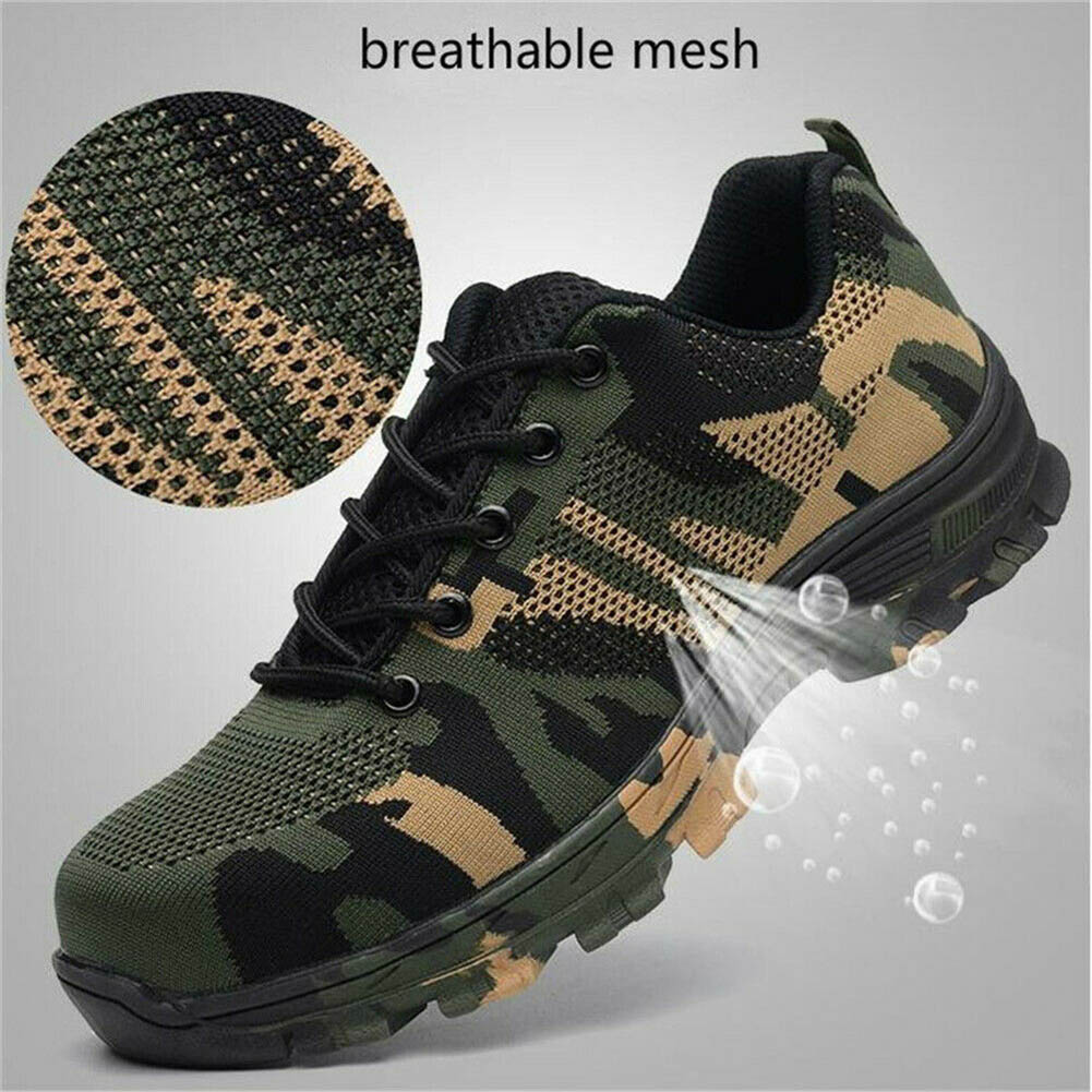 Men Indestructible Bulletproof Safety Shoes Military Work Lightweight Sneakers Men Camouflage Puncture Proof High Quality Safety
