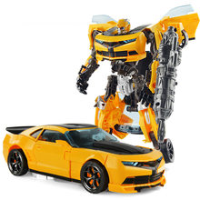 2018 deformação bumble bee transformar modelo de carro para robô brinquedos meninos educação brinquedos diy presente