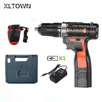 XLTOWN 16.8V cordless electric drill with a plastic box lithium battery rechargeable electric screwdriver household power tools