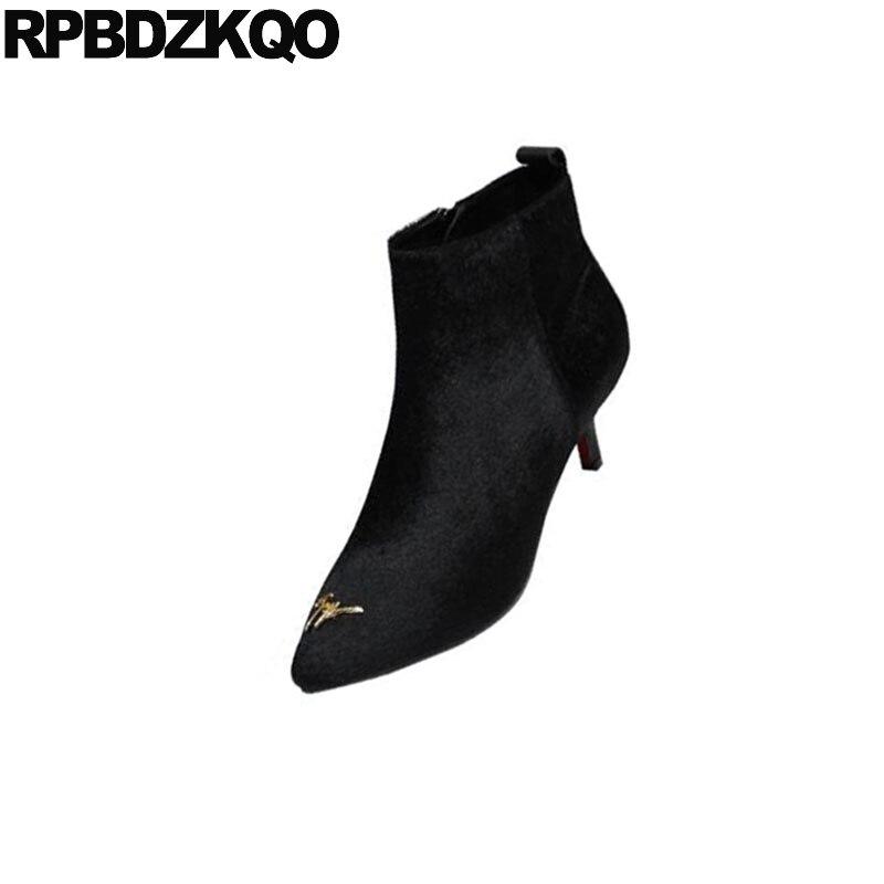 2018 Otoño Con Lateral Cremallera Invierno Punta De Stiletto Botines Negro Piel Para Lujo Zapatos Calidad Estrecha Crin Corta Alta Mujer ORHfgq